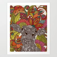 Arabella+and+the+flowers+Art+Print+by+Valentina+-+$18.00