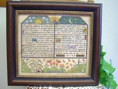Cross stitched sampler