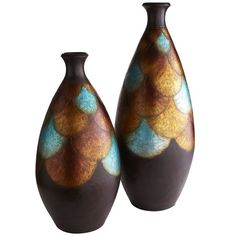 Peacock inspired Feather Design Floor Vases from Pier 1
