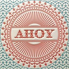 Letterpress Print Anchor Ahoy There Red & Blue von letterpress