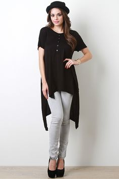 High-Low Henley Top
