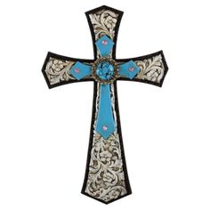 Pine Ridge Rustic Christian Family Wall Hanging Stunningly Detailed with Embossed Silver Leather Background and Burnished Turquoise Accent Cross Home Decoration - Catholic Wall Art Cross Gift Ideas Background Decoration, Turquoise Accents, Christian Families, Holy Cross, Wood Crosses, Family Wall, Rustic Feel, Wall Art, Western Wall