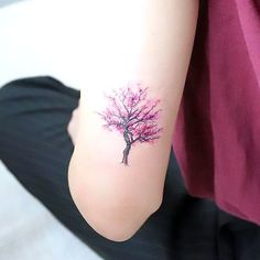 Small Purple Tree Tattoo Idea