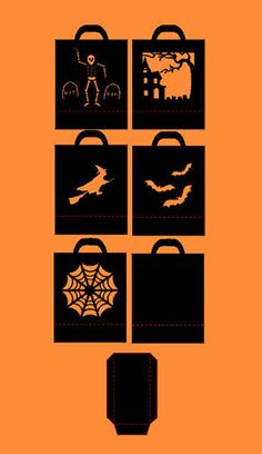 Set of 5 Halloween Bags SVG digital cutting file by CraftaholicCreation on Etsy