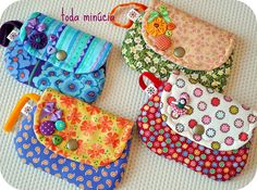 Triple Treat Tote Pattern by Artful Offerings ~ Karina Hittle - Her Crochet Diy Coin Purse, Coin Purse Tutorial, Wallet Pattern, Tote Pattern, Fabric Bags, Fabric Scraps, Bag Patterns To Sew, Sewing Patterns, Diy Bags Purses