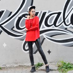 Women Long Sleeve Red Sweatshirts Y1195 -Red - PIZOFF