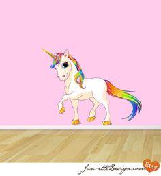 rainbow wall decal | Princess Rainbow Unicorn Fabric Wall Decal by JanetteDesign, $60.00