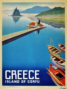 A SLICE IN TIME Greece Greek Island Corfu Europe European Vintage Travel Advertisement Art Collectible Wall Decor Poster Print. Measures 10 x inches Old Posters, Tourism Poster, Corfu Greece, Retro Poster, Poster Vintage, Old Advertisements, Voyage Europe, Greece Islands, Vintage Travel Posters