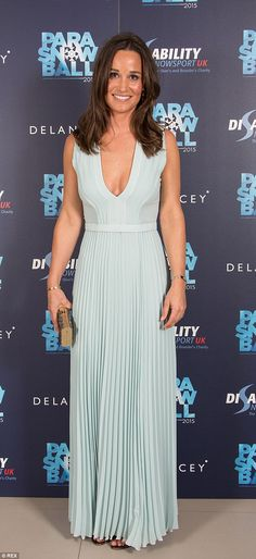 Pippa Middleton shows off curves in low cut maxi dress at ParaSnowBall #dailymail