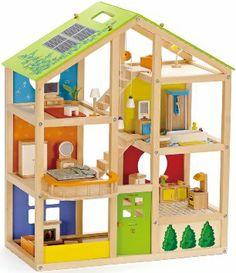 Amazon.com: Hape - All Season Doll House - Furnished Playset: Toys & Games