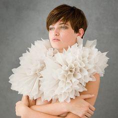 "Eliana-R.-Arenas -  ""White"" Body Adornment, white vellum paper, wool, monofilament, sterling silver, magnets 63.5 x 50.8 x 20.32 cm"