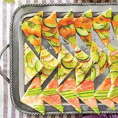 Mosaic Tea Sandwiches | MyRecipes.com (vegan substitute for cream cheese? red pepper spread, hummus, pesto)
