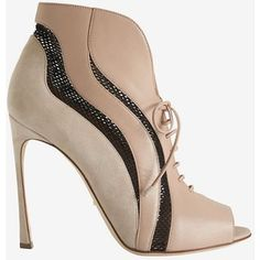 Sergio Rossi Mesh Inset Lace-Up Open Toe Bootie