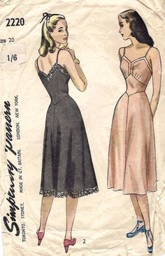 "Vintage 1940's Sewing Pattern Women's Pretty Slip Rare B38"" WWII Wartime WW2 #Simplicity"