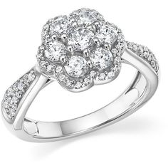 Diamond Cluster Flower Ring in 14K White Gold, 1.0 ct. t.w. (£3,945) ❤ liked on Polyvore featuring jewelry, rings, white gold jewellery, diamond flower cluster ring, white ring, white gold rings and white jewelry