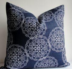 Decorative Pillow Cover -JOHN ROBSHAW Designer - DURALEE - WoodBlock Print - indigo blue - throw pillow - accent pillow - navy pillow on Etsy, $38.00