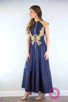 Designer Ridhi Mehra Embroidered Exposed Zipper Anarkali