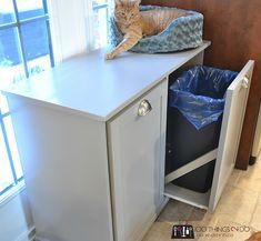 DIY Recycling Centre - A beginner build Recycling Bin Storage, Garbage Recycling, Recycling Station, Recycling Center, Kitchen Recycling Bins, Kitchen Garbage Can Storage, Kitchen Trash Cans, Hidden Kitchen, Diy Kitchen Storage