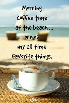 Morning coffee time at the beach. One of my all time favorite things. Coffee Is Life, I Love Coffee, Coffee Break, My Coffee, Morning Coffee, Morning Sky, Coffee Cafe, Coffee Drinks, Coffee Shop