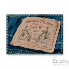 Unique Denim Jeans Label Themed Single Sided Personalised Birthday Invitations - From as little as £0.41 per card - Including free envelopes and delivery on all orders!