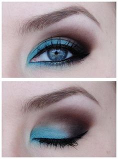 blue & brown eyeshadow - gorgeous..this is so cool but i don't have the guts to try something this bold. :-(