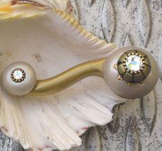 Susan Goldstick Gold/Alabaster/Black/Jade Eel Ivory Left  Decorative Cabinet Pull