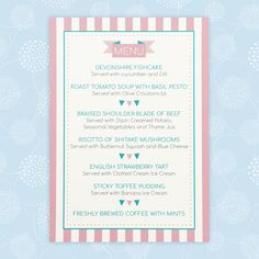 This Circus Festival wedding menu is available in individual and table sizes. The personalised design is printed using splash proof ink. Wedding Menu, Wedding Reception, Wedding Day, Wedding Stationery, Wedding Invitations, Roasted Tomato Soup, Clotted Cream, Vegetable Seasoning, Table Sizes