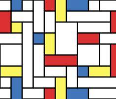 Mod - Mondrian Blocks fabric by studiofibonacci on Spoonflower - custom fabric (can see a mod Captain Marvel dress in this fabric's future)