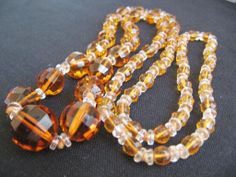 Beautiful Amber and Clear Heavy Cut Graduated Crystal Beads