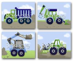 Set+of+4+Blue+Construction+Trucks+Boys+Bedroom+by+ToadAndLily,+$20.00