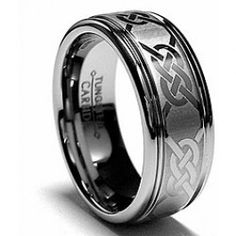 Tungsten Carbide 8MM Laser-etched Celtic Grooved Ring - MemeJewels.com