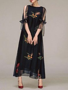 Floral-print Chiffon Maxi Dress cute outfits for girls 2017 Elegant Maxi Dress, Chiffon Maxi Dress, Maxi Dress With Sleeves, Dress Up, Dress Casual, Trendy Dresses, Fashion Dresses, Fashion Clothes, Look Fashion