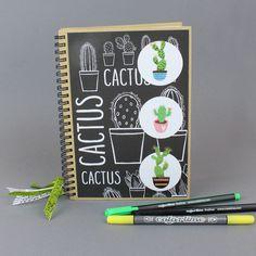 Kuviopaperein, tarroin ja nauhoin koristeltu pahvikantinen muistikirja. Office Supplies, Notebook, 1, Cactus, The Notebook, Exercise Book, Scrapbooking