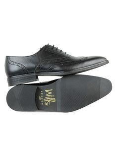 Vegan mens smart slim Oxfords in black by Wills London