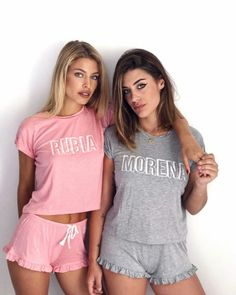 Cute Lazy Outfits, Short Outfits, Girl Outfits, Cute Pjs, Cute Pajamas, Pyjamas, Pijamas Women, Matching Pjs, Cute Sleepwear
