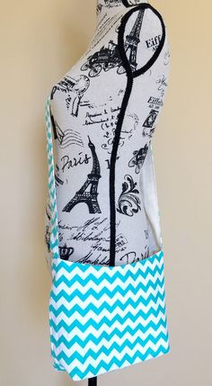 Small Crossbody Bag Cotton Fabric Aqua Chevron by LittleMissPoBean