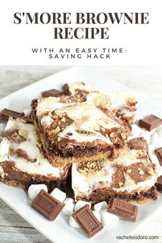 Easy S'mores Brownie Recipe with a Hack they are from a box mix #camping #campinghacks #dessertrecipes #easyrecipe