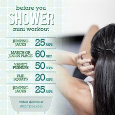 Here's a mini workout, designed especially for beginners, that will get your heart pumping and give you energy that lasts all day. #Workout #BeforeShower #FatLoss