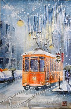 -Duomo e tram vecchio ,Milano- acquerello 30x45 di Lorenza Pasquali Paintings www.lorenzapasquali.it Copyright © Lorenza Pasquali