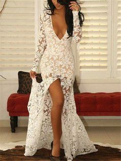 Fitted Lace Evening Dresses,Prom Dress with Sleeves,Front Slit Evening Prom Dresses Long With Sleeves, Dresses Short, Prom Dresses With Sleeves, Vestidos Sexy, Vestidos Vintage, Mermaid Evening Dresses, Formal Evening Dresses, Evening Gowns, Formal Dress