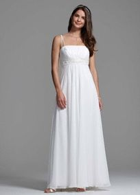 Elegantly flowing A-line dress with shirred empire bodice and hand-beaded waistband.   Double spaghetti straps form a graceful A-line that accentuates the neckline.  An ethereal look that flatters every shape.  Fully lined. Back zip. Imported polyester. Dry clean only.  Available in Plus Style 9BR1007. Available in White and Ivory.  To protect your dress, try our Non Woven Garment Bag.