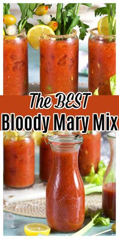 Best Bloody Mary Mix, Homemade Bloody Mary Mix, Best Bloody Mary Recipe, Bloody Mary Recipes, Bloody Mary Recipe For Canning, Bloody Mary Bar, Alcohol Drink Recipes, Vodka Cocktails, Cocktail Drinks