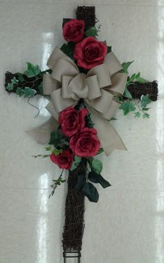 Floral Design, Spring Remembrance Cross, 2014, by Renee Corbin: Michael's of Waynesville, NC