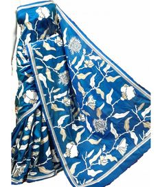 Blue Kantha Silk Stitch Saree