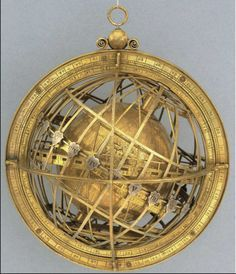 The Jagiellonian Clock, incorporating the Jagiellonian Globe, c.1510. The Globe, containing the mechanism, is nested at the centre of the clockwork.