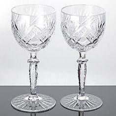 2 alte Weingläser Kristall Gläser Bodenstern Schliff Sterne Strahlen Vintage