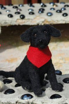 Sold-Black Labrador Retriever Puppy-Needle felted Dog Sculpture