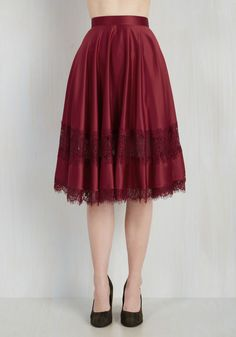 My Kind of Twirl Skirt in Ruby. Whether you spin slowly with a sway or swiftly, ruffling this satiny midi skirt with every rotation, your style will resonate with every onlooker. #red #modcloth