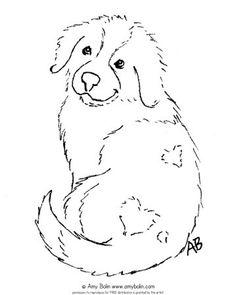 "FREE COLORING SHEET DOWNLOAD · ""Puppy Love"" · SAINT BERNARD · AMY BOLIN - Amy Bolin's Far Out! Art"