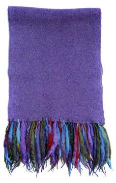 Slub Tassle Scarf Colour Lilac